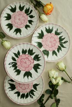 vintage hand painted plates, rose pink peony or camellia Blue Ridge pottery
