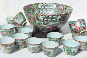 vintage hand painted porcelain punch bowl & cups, famille rose medallion Hong Kong china