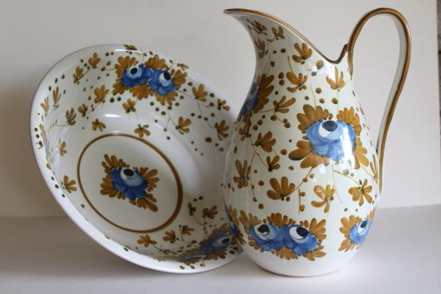 vintage hand painted pottery Italian ceramic pitcher & bowl, Nora Fenton Italy imports
