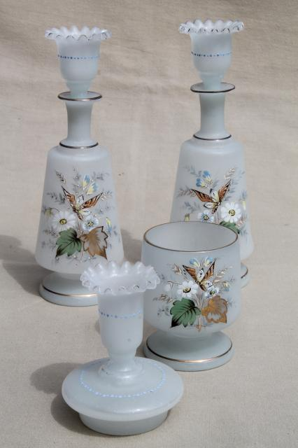 vintage frosted candle holders hand painted