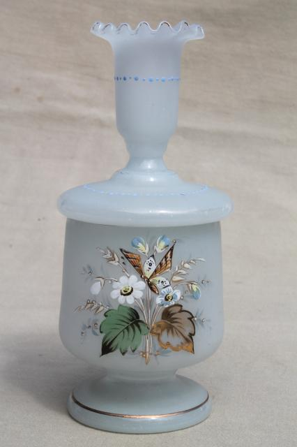 vintage hand painted translucent camphor glass vanity bottles & jar candle holders