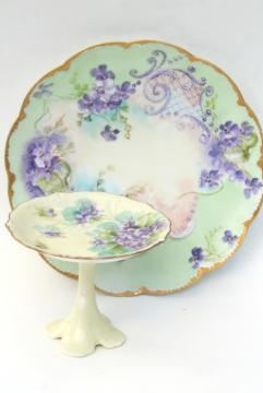 vintage hand painted violets china plate & pedestal candy dish, dessert stand pieces