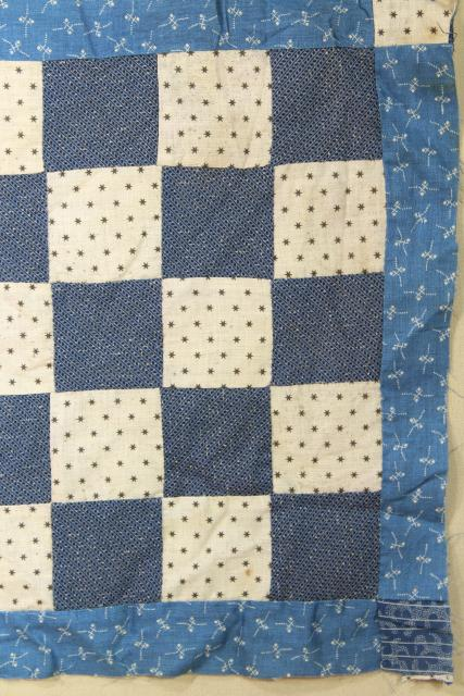 vintage hand sewn patchwork block mini quilt top, early indigo antique fabric