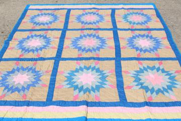 vintage hand stitched cotton quilt, big lone star blocks pink & blue patchwork
