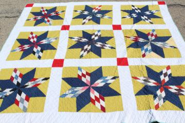 vintage hand stitched cotton quilt, big lone star blocks red, blue, mustard yellow