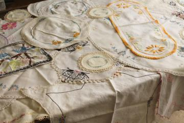vintage hand stitched embroidered doilies lot, cotton fabric rounds & long table mats