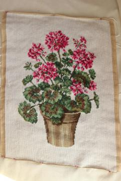 vintage hand stitched needlepoint, pink geraniums floral needlework to frame or upcycle