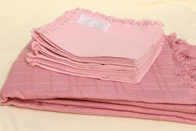 Vintage Hand Woven Cotton Tablecloth U0026 Fringed Napkins, Country Rose Pink