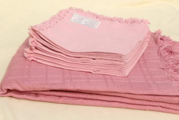 vintage hand woven cotton tablecloth & fringed napkins, country rose pink