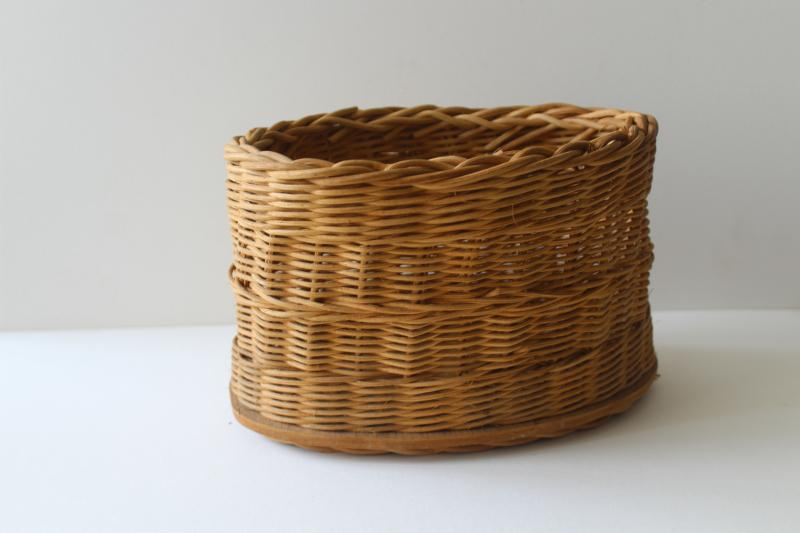 vintage hand woven wicker basket, planter or desk caddy, kitchen / bath storage basket