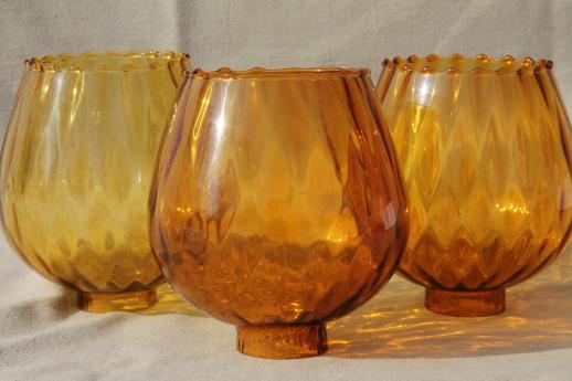 vintage hand-blown art glass lamp globes, new old stock lot amber ...