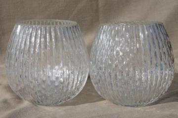 vintage hand-blown art glass lamp globes, new old stock lot bamboo textured glass lamp shades