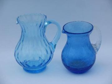 vintage hand-blown optic & crackle glass pitchers lot, shades of blue