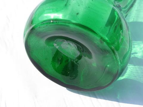 Vintage Hand Blown Ruffle Edge Forest Green Glass Vase Enamel