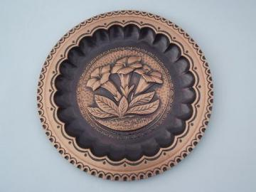 vintage handcrafted tooled wrought solid copper plate, Vicenza Italy