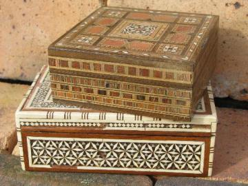 vintage handcrafted wood jewelry chests, incense boxes from Syria