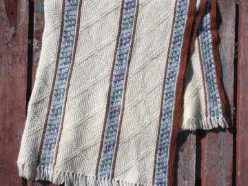 vintage hand-crocheted afghan blanket or bedspread, ivory, blue and brown