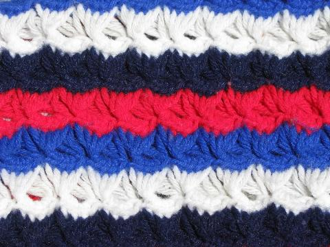 vintage hand-crocheted afghan, retro 70s red, white and blue stripes