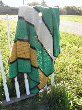 vintage hand-crocheted afghan throw blanket, teal green, gold, ivory