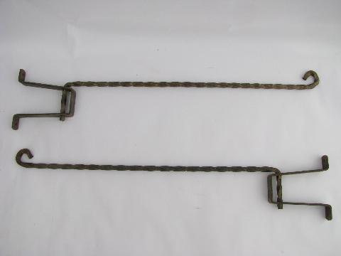 vintage hand-forged wrought iron shutter curtain rods w/ pivot brackets