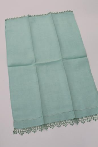 vintage handkerchief linen towels w/ tatted lace edging, pretty pastel powder room towels