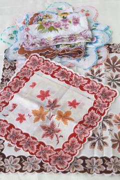 vintage handkerchiefs lot, autumn leaves & floral prints, printed cotton hankies