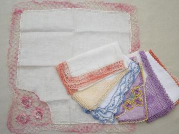 vintage handkerchiefs lot, colored crochet cotton lace trimmed hankies