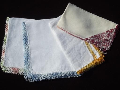 Vintage Handkerchiefs Lot Cotton Crochet Lace Hankies In