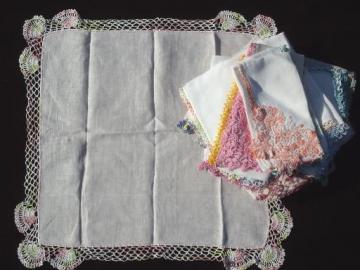 vintage handkerchiefs lot, cotton crochet lace hankies in pastel colors