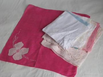 vintage handkerchiefs lot, cotton lace trimmed hankies in white, pastel colors