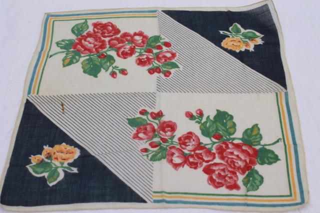 vintage handkerchiefs lot - floral prints, spring flowers, bouquet of roses - printed cotton hankies