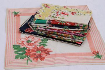 vintage handkerchiefs lot - floral prints, spring flowers, bouquet of roses - printed cotton hankies