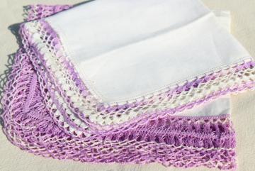 vintage handkerchiefs lot, lace edged hankies trimmed w/ cotton thread crochet edgings