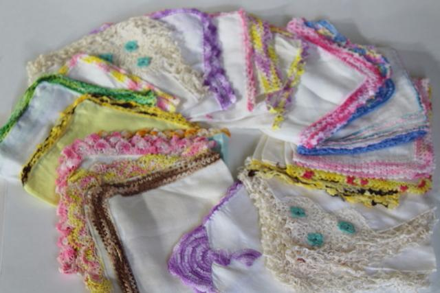vintage handkerchiefs lot, lace edged hankies trimmed w/ cotton thread crochet edgings