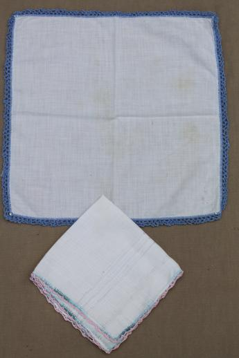 vintage handkerchiefs lot, lace edged hankies trimmed w/ cotton thread crochet lace
