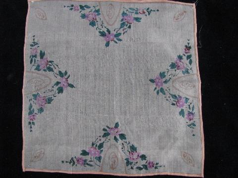 vintage handkerchiefs lot, pure silk hankies w/ roses, flowers print
