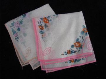 vintage handkerchiefs lot, pure silk hankies w/ roses, flowers print