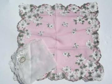 vintage handkerchiefs lot, sheer nylon chiffon hankies w/ flowers