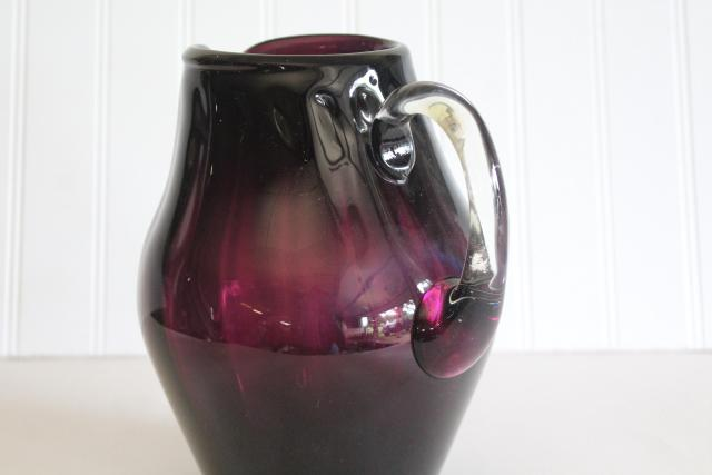 vintage handmade Mexican glass pitcher, amethyst purple wine jug hand blown glass