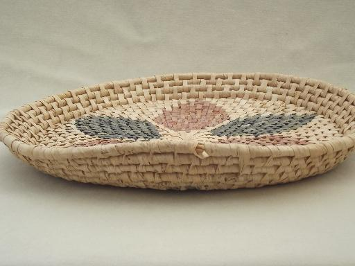 Old Handmade Baskets : Vintage handmade baskets lot of coiled basket bowls and trays