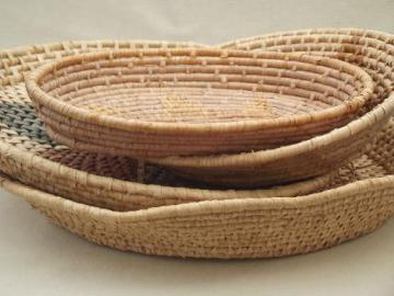 vintage handmade baskets, lot of coiled basket bowls and trays