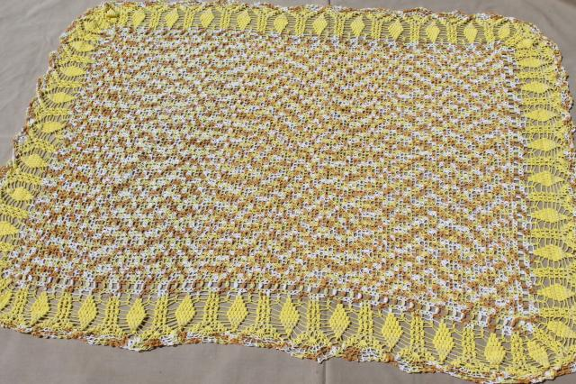 vintage handmade cotton lace crochet tablecloth, golden grapes varigated yellow color