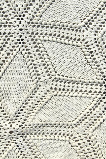 vintage handmade crochet bedspread, tumbling blocks ivory white lace shabby cottage chic