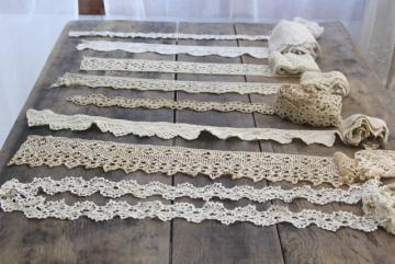 vintage handmade crochet lace edgings & insertion, salvaged antique sewing trims