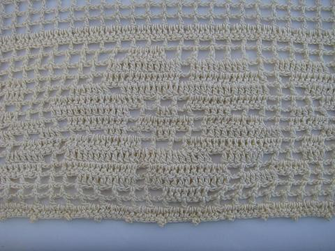 vintage handmade crocheted lace bay window curtain, filet crochet roses and butterflies