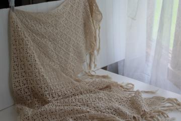 vintage handmade ivory cotton lace shawl, fringed crochet wrap for boho bride wedding or festival