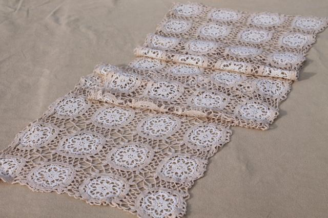 Vintage Handmade Lace Table Runner Or Dresser Scarf White