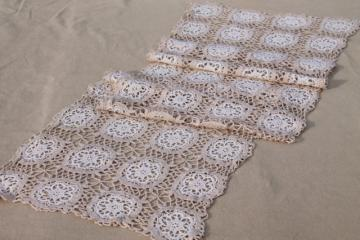 vintage handmade lace table runner or dresser scarf, white crochet lace flowers on ecru