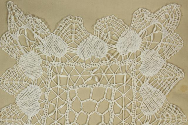 vintage handmade lace table runner with heart border, Valentine hearts