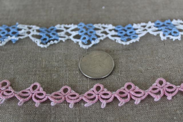 vintage handmade tatted lace edgings, pink, blue & white cotton thread lace tatting